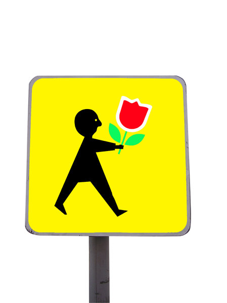 Male Agatka with the flower: A weird roadsign (but real, to be seen in Warsaw) -> a modification of well-known Polish sign Agatka.