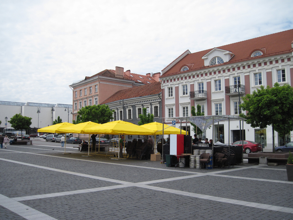 Main square: A main square with a pub. Vilnius, Lithuania