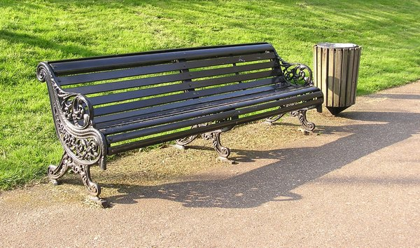Bench in the park: A bench.