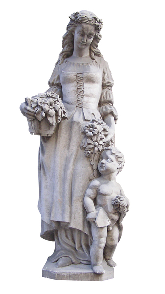 Woman with a child: An old sculpture.