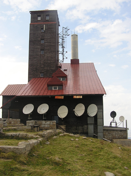Broadcasting center: A building on the top of the mountain. This is TV-radio broadcasting center over Sniezne Kotły.