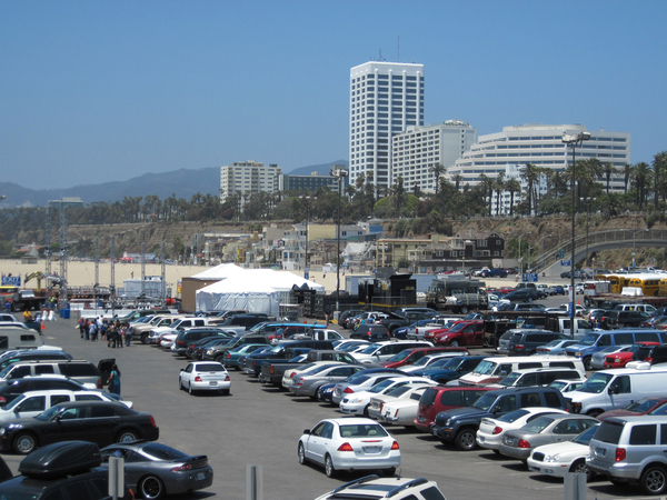 Car park on a beach: A car park in Santa Monica.