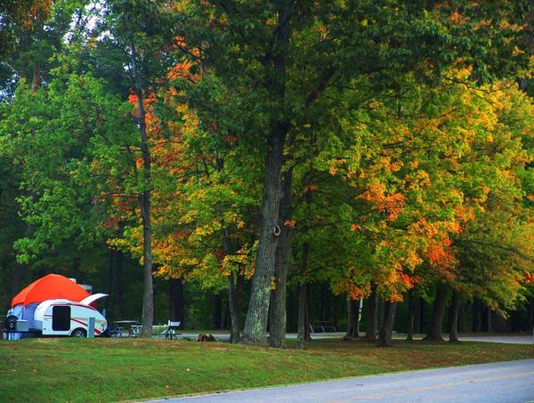 Autumn Camping: Autumn camping at a state park in Ohio with a Tear Drop Camping Trailer and Tent. The trees are dressed for the season.