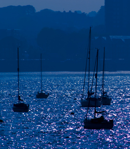Blue day: Shot in to the sun on the river Thames, with Erith in the background.