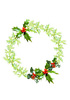 Holly wreath: Holly wreath with berries and light green leaves