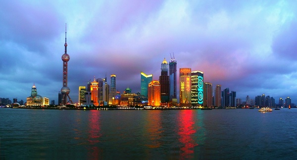 Shanghai City in the evening: This is the evening view of the central business area of Shaghai city from the embankment. The pano is stitched of 4 shots.Any comments and ratings, please.