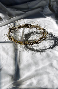 Crown of thorns 2: In Christianity, the Crown of Thorns, one of the instruments of the Passion, was the woven chaplet of thorn branches worn by Jesus before his crucifixion.