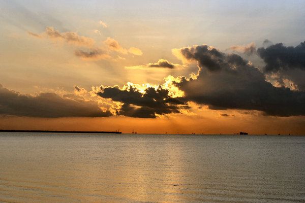 Sun Attempting to Rise: 7-23-05 Galveston Bay, Texas