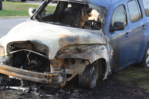 Burned Out Car: Neighbors car was torched.  Car was trotally destroyed.