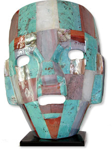 Ancient Mask: I bought this stone-made mask at Teotihuacan (Mexico) as a handicraft made by one of the many artisans of the town. It is built with  pieces of different kinds of stone. It looks like certain masks that were found in Teotihuacan, an important archeologica