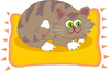 Cat on the Mat: Cartoon cat clipart.