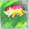 Fluffy Cat: Grunge fluffy cat painting.