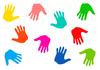 Hand Prints: Colourful hand prints.
