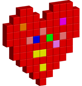 Love Heart: A red pixel love heart shape.