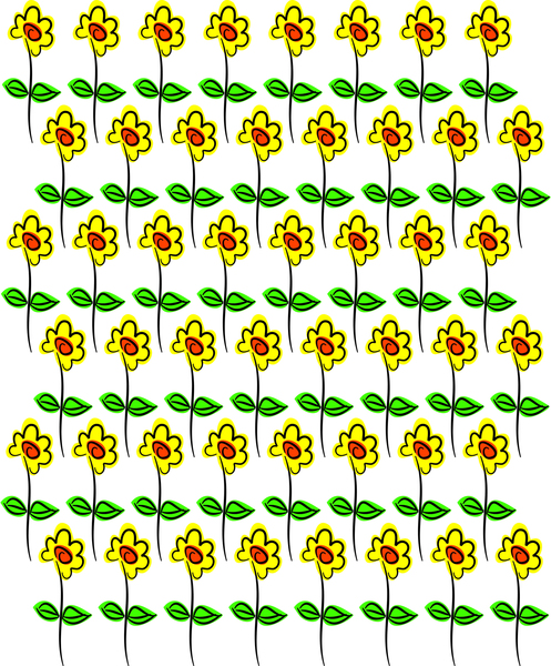 Whimsical Flowers: Repeat daisy pattern clipart.