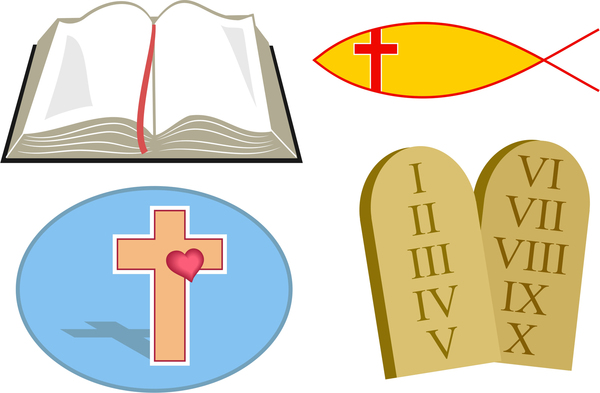 Christian icons: Christian icon set including an open bible, an icthus, cross symbol and the ten commandments.