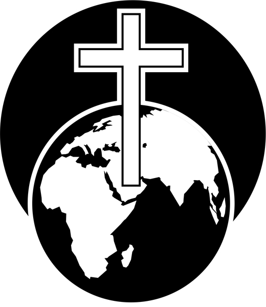 Cross and World: Cross symbol and world globe clipart.