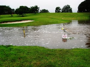 Flooded golf course: Floods in Scotland, June 2012. It stopped raining briefly.