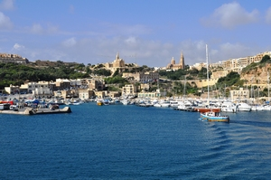 Crossing to Gozo from Malta: Harbour entrance to Gozo. Crossing by ferry from Malta