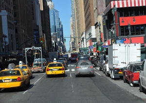 New York Street: One of the main streets in New York near train station