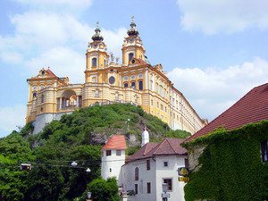 stift melk/monastery - austria: big cloister in melk at the danube in austria