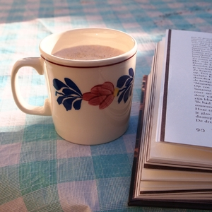 coffee in garden: Drinking coffee and reading a book in the early summer morning
