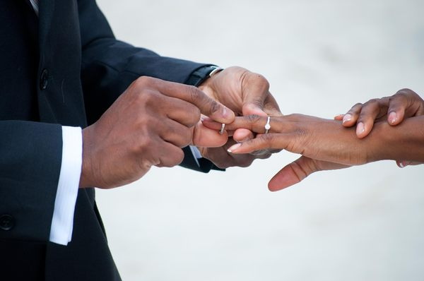 Putting on the ring: The moment! An African American couple exchange rings