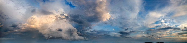Evening Sky Panorama: At sunset, or just after magic hour, an assortment of different cloud types above the ocean