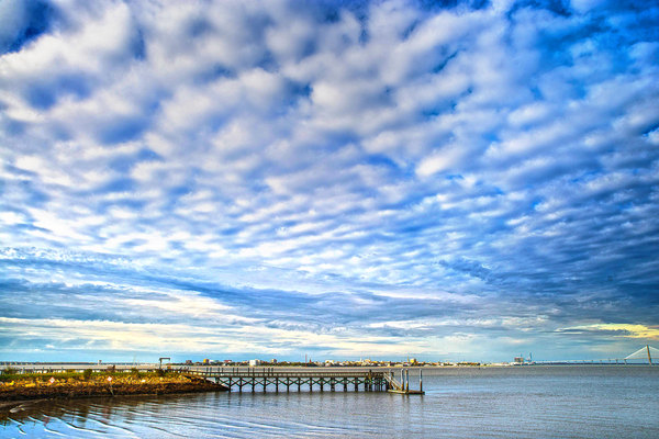 Broken Sky: Mid afternoon sky on a winters day at James Island, South Carolina, USA