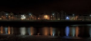 customs house st georges quay : night shot of old customs house  on the river lune lancaster