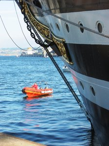 tall ship bow: Bows and figureheads from tall ships in the port of a coruña