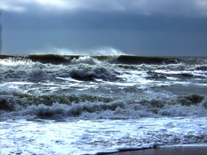 Turmoil: A small storm went through and churned up the sea