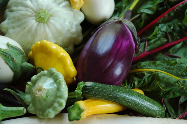 Vegetables: aubergine eggplant patisson vegetables courgette swisschard pattypan