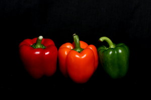 Red Amber Green Peppers: Three peppers in the colours of traffic lights or red, amber, green status