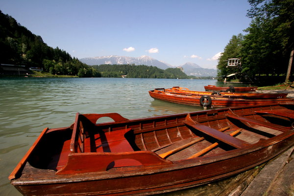 Boats on Lake Bled: Boats on Lake Bled, Slovenia