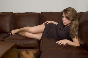 Leather couch 2: Amy on a leather couch