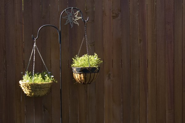 Baskets: Hanging baskets in front of a fence.  The fence gives you plenty of room for copy.
