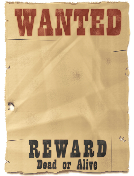 Wanted Poster: Blank wanted dead or alive poster.