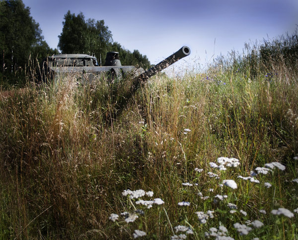 Defense: A small military vehicle in the landscape