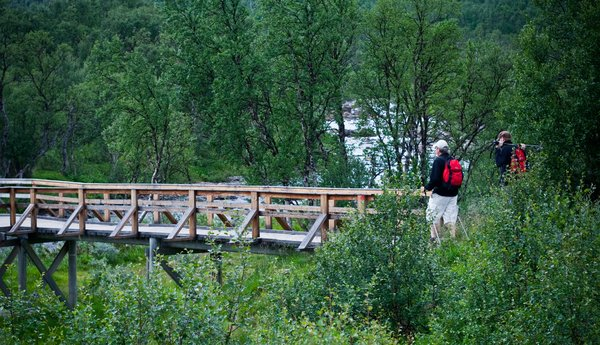 Walking in he mountains: Walking over a bridge in the montains in the north of Sweden