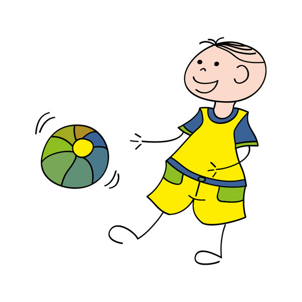 Boy with ball: Drawing of a boy playing with a ball