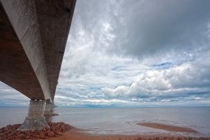 Confederation Bridge - HDR: Wide-angle coastal scenery with the Confederation Bridge linking the provinces of Prince Edward Island and New Brunswick (Canada). HDR composite from multiple exposures.