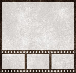 Film Strip Grunge: Grunge textured film strip with a large placeholder above for larger scale preview.