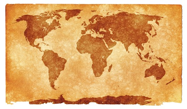 World Grunge Map: Grunge textured world map on vintage paper, with sepia toning for a more aged feel.