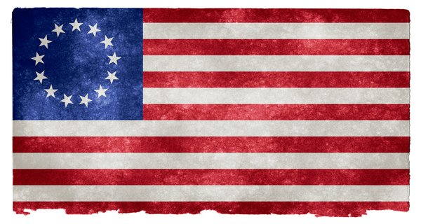 USA Betsy Ross Grunge Flag: Grunge textured flag of the United States on vintage paper, the early Betsy Ross version in use from 1777-1795 around the time of American Independence, where the 13 stars represent the first 13 states.