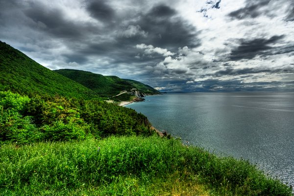 Cabot Trail Scenery - HDR: Wide-angle scenery from the Cabot Trail in Cape Breton, Nova Scotia (Canada); more specifically, near the Acadian village of Cheticamp. HDR composite from multiple exposures.
