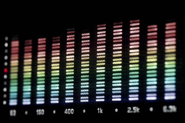 spectrum analyser: illuminated bars on an audio spectrum analyzer