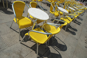 Have a seat: Chairs in yellow.