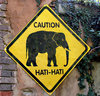 elephant walk warning: old elephant  warning sign