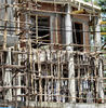 bamboo scaffolding3: bamboo scaffolding on building construction site
